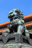 Detail of bronze statue of a lion at the forbidden city Stock Photography