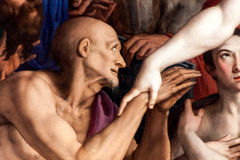 Detail Of Bronzino Painting. FLORENCE, ITALY - OCTOBER 3: Detail of the famous painting The Descent of Christ to Limbo, created in 1552 by Agnolo di Cosimo Royalty Free Stock Image