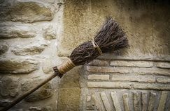 Detail of brooms for witches at halloween. Detail of brooms for witches in halloween, detail of decoration and superstition, magic and mystery royalty free stock photo
