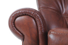 Detail of brown leather recliner Royalty Free Stock Photo