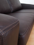 Detail of brown leather sofa Royalty Free Stock Image