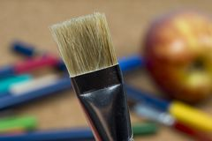 Detail of brush bristles with pen tip maker at background stock images