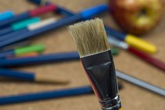 Detail of brush bristles with pen tip maker at background royalty free stock photos