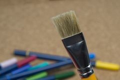 Detail of brush bristles with pen tip maker at background. royalty free stock images