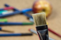 Detail of brush bristles with pen tip maker at background royalty free stock photo