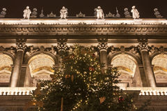 Detail of Budapest Opera at christmastime. Detail of Budapest Opera on the Andrássy way at christmastime royalty free stock image