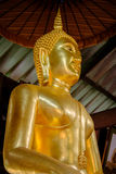 Detail of Buddha gold statues decorating the Buddhist temple  in Udon Thani ,Thailand. Royalty Free Stock Photo
