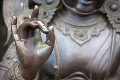 Detail of Buddha statue with Karana mudra hand position Stock Photography
