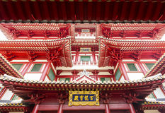 Detail of Buddha Tooth Relic Temple in China Town Singapore. Stock Photos