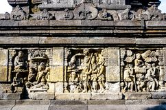 Detail of Buddhist carved relief in Borobudur temple in Yogyakar. Ta, Java, Indonesia Stock Photography