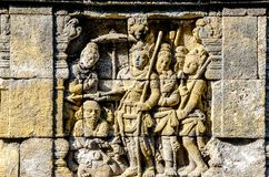 Detail of Buddhist carved relief in Borobudur temple in Yogyakar. Ta, Java, Indonesia Stock Photos