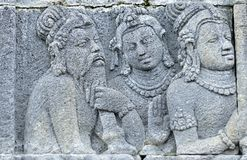 Detail of Buddhist carved relief in Borobudur temple. Detail of Buddhist carved relief in Borobudur temple in Yogyakarta, Java, Indonesia Royalty Free Stock Photography