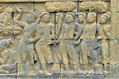 Detail of Buddhist carved relief in Borobudur temple Stock Image