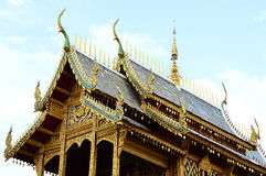 Detail of a buddhist monastery roof, Thailand. Detail of a buddhist monastery roof in Buddhist Temple, Thailand Royalty Free Stock Photos