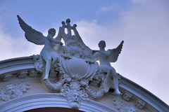 Detail on building of Ho Chi Minh City Opera house, VietNam. Detail and part of Opera house in Ho Chi Minh City, VietNam, as landmark and famous view spot of Royalty Free Stock Photography