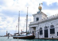 Detail of building Maritime Customs (Dogana di Mare). Venice Stock Photos