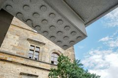 Detail of a building of Prague Castle. With blue sky royalty free stock photos