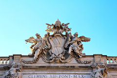 Detail of the building top of Fontana di Trevi Royalty Free Stock Image