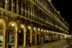 Detail of a Building in Venice with lights Stock Photography