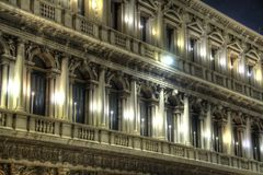 Detail of a Building in Venice with lights Stock Images