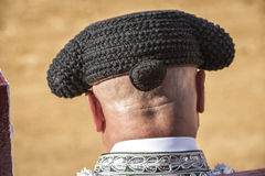 Detail of Bullfighter bald and slightly fat looking the bull dur Stock Photo