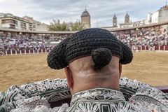 Detail of Bullfighter bald and slightly fat looking the bull dur Royalty Free Stock Photography