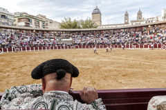 Detail of Bullfighter bald and slightly fat looking the bull dur Royalty Free Stock Image