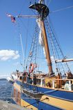 Detail of bulwarks and mast of tall ship Royalty Free Stock Image