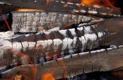 Detail of burning wood Stock Photo