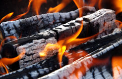 Detail of burning wood stock images