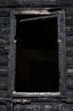 Detail of burnt walls log home Stock Images