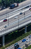 Busy Highway. Singapore. Detail of busy roads in Singapore. View from above Stock Images