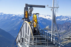 Detail of cable car gear . Courmayeur Valley Stock Images