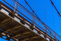 Detail of cable-stayed bridge over river Katun in Altai. In summer stock photos