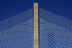 Detail of a cable-stayed bridge Royalty Free Stock Images