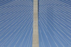 Detail of a cable-stayed bridge Stock Images