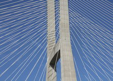 Detail of a cable-stayed bridge Stock Photos