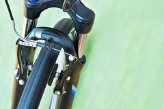 Detail Of Caliper Brakes And Suspension Fork Of Bicycle. Detail Of Caliper Brakes And Suspension Fork Royalty Free Stock Images