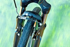 Detail Of Caliper Brakes. And Suspension Fork Royalty Free Stock Photography