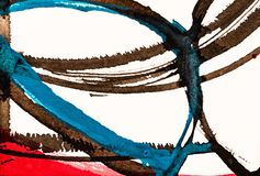 A Detail from a Calligraphic Painting with Cola Pen Lines and Co. Lored Areas; Watercolor and Ink vector illustration