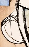 A Detail from a Calligraphic Painting with Cola Pen Lines and Co. Lored Areas; Watercolor and Ink royalty free illustration