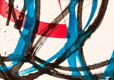 A Detail from a Calligraphic Painting with Watercolor and Ink vector illustration