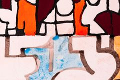 A Detail from a Calligraphic Painting with Watercolor and Ink stock illustration