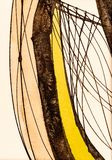 A Detail from a Calligraphic Painting with Watercolor and Ink. A Detail from a Calligraphic Painting with Cola Pen Lines and Colored Areas; Watercolor and Ink royalty free illustration