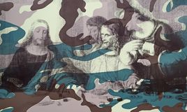Andy Warhol--From A To B And Back Again at Whitney Museum. This detail of Camouflage Last Supper, of 1986 by Andy Warhol, shows an experiment of overlaying a stock photos