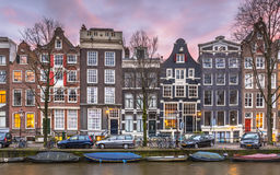 Detail of Canal houses on the Brouwersgracht in Amsterdam Royalty Free Stock Images