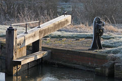 Detail of canal lock on a frosty winter morning. Royalty Free Stock Image