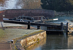 Detail of canal lock on a frosty winter morning. Stock Photo