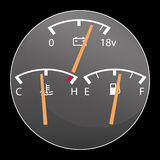 Detail of car gauges. Including the fuel, voltage and water temperature gauge Stock Photo