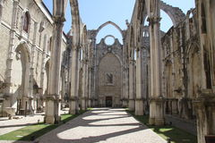 Detail of the Carmo church in Lisbon Royalty Free Stock Photo